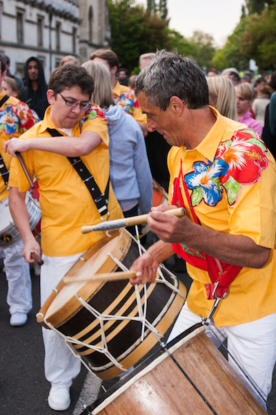 Phil Pritchett and Peter Williams playing maracatu with Sol Samba on May Morning 2011