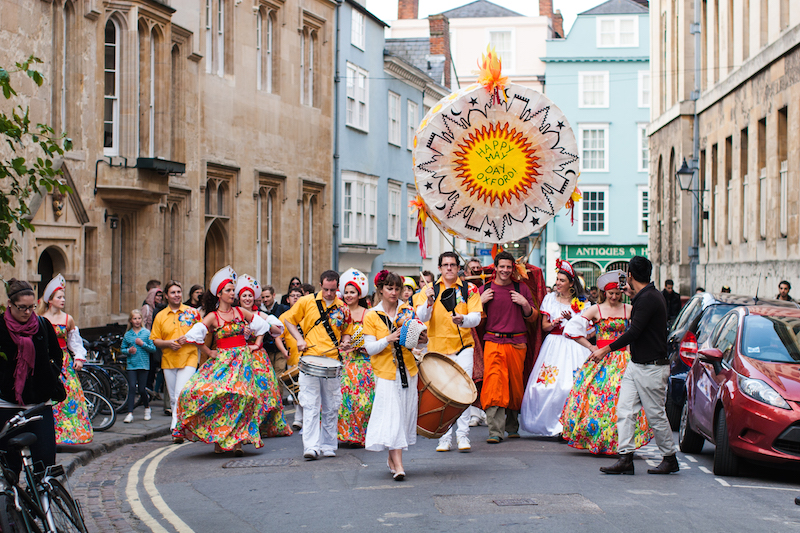 Sol Samba parading down New College Lane in Oxford on May Morning 2011