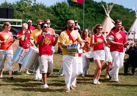 Sol Samba parading at Rhythm Tree Festival on the Isle of Wight
