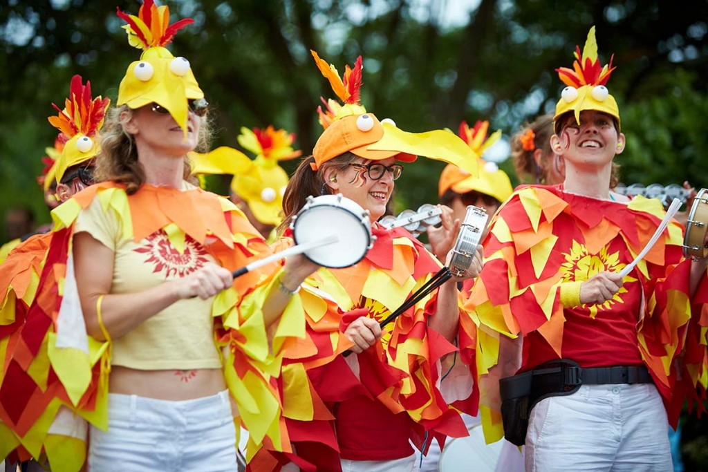 Sol Samba tamborim players at Cowley Road Carnival 2015