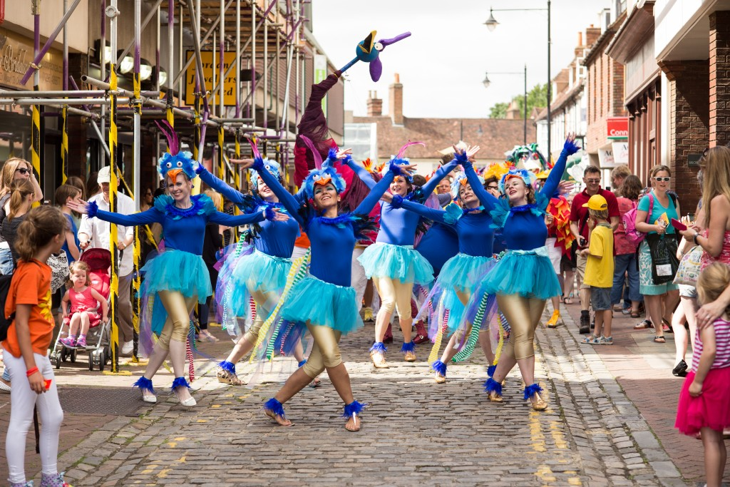 Sol Samba dancers performing as Roly Poly Birds at Aylesbury Roald Dahl Festival, 2015.